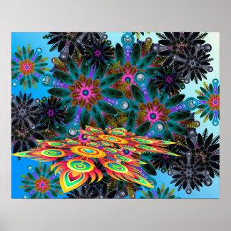 Abstrata azuis e roxos da arte pôster