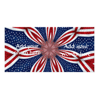 Abstrato 1 do caleidoscópio da bandeira americana cartão com foto