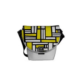 Abstrato amarelo do preto bolsa mensageiro