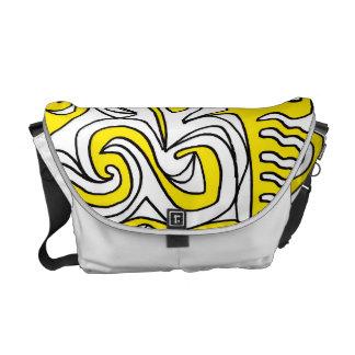 Abstrato amarelo do preto bolsas mensageiro