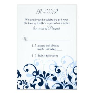 Abstrato azul pálido RSVP floral do branco dos Convite 8.89 X 12.7cm