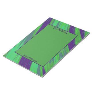 Abstrato azul verde da abanada da cor bloco de anotação