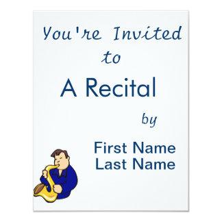 abstrato blue.png do homem do jogador de saxofone convite 10.79 x 13.97cm