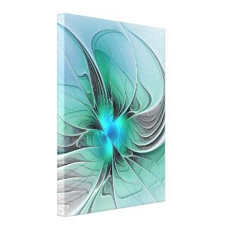 Abstrato com arte azul, moderna do Fractal Impressão Em Tela