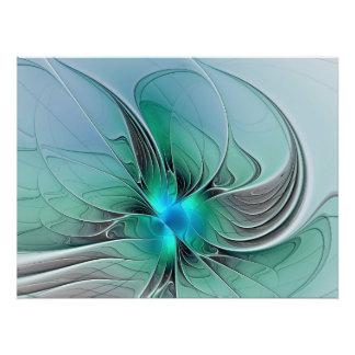 Abstrato com arte azul, moderna do Fractal Pôster