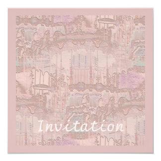 Abstrato cor-de-rosa do carrossel convite quadrado 13.35 x 13.35cm