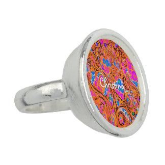 Abstrato cor-de-rosa fluorescente da laranja anel com foto