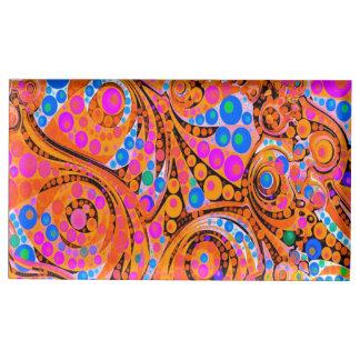 Abstrato cor-de-rosa fluorescente da laranja suportes para cartoes de mesa