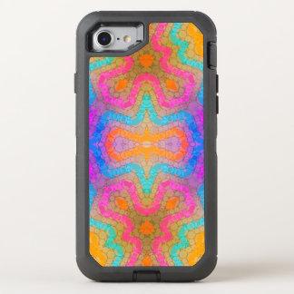 Abstrato cor-de-rosa fluorescente de turquesa capa para iPhone 7 OtterBox defender