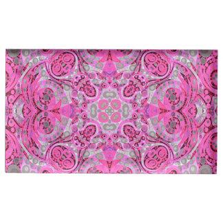 Abstrato cor-de-rosa fluorescente do cinza suporte para cartões de mesa