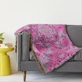 Abstrato cor-de-rosa fluorescente do cinza throw blanket