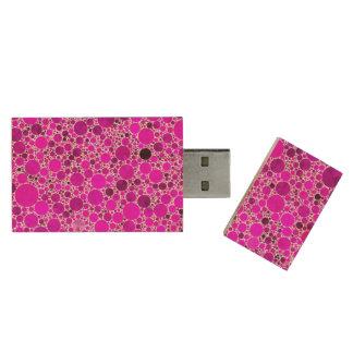 Abstrato cor-de-rosa fluorescente minúsculo de pen drive de madeira