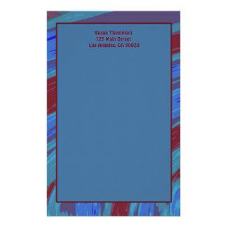 Abstrato da abanada da cor de azul vermelho papelaria