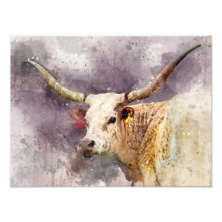 Abstrato da foto da aguarela de Texas Longhorn