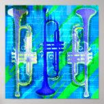 Abstrato de 3 trombetas impressão