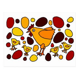 Abstrato engraçado da arte do galo e das galinhas cartão postal