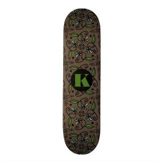 Abstrato floral bonito super w/Monogram Shape De Skate 21,6cm