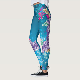 Abstrato floral colorido legging