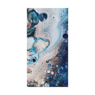 Abstrato fluido azul do acrílico em canvas