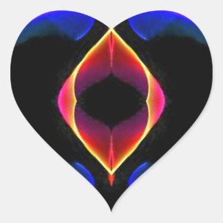Abstrato fluorescente roxo cor-de-rosa azul adesivo coração