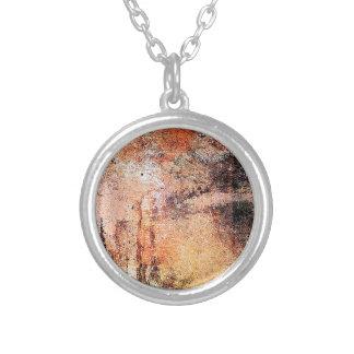 abstrato marrom oxidado do fumo da queimadura da a colar banhado a prata