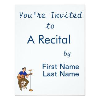abstrato mic blue.png do assento do guitarrista convite 10.79 x 13.97cm