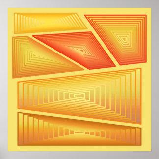 Abstrato moderno - 3 pirâmides de d, ouro pôster