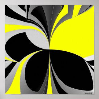 Abstrato preto amarelo do cinza pôsteres