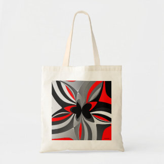 Abstrato preto vermelho do cinza sacola tote budget