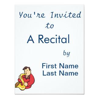 abstrato red.png do homem do jogador de saxofone convite 10.79 x 13.97cm