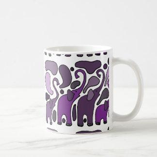 Abstrato roxo da arte do elefante caneca de café