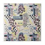 Abstrato selvagem no rosa e no azul azulejo de cerâmica