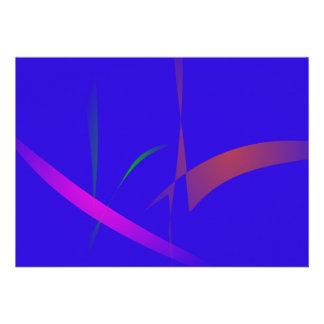 Abstrato simples do azul com reduzir cores convite personalizados