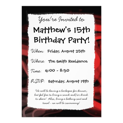 Abstrato Stringy do vermelho Convite Personalizados
