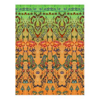 Abstrato verde e alaranjado do Musical Cartão Postal
