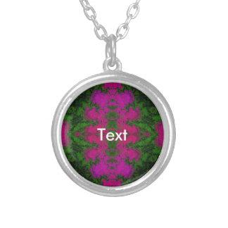 Abstrato verde fluorescente do rosa colar com pendente redondo