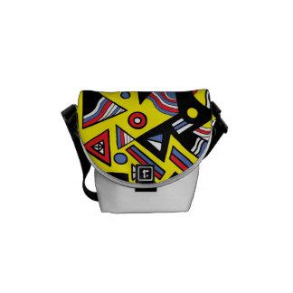 Abstrato vermelho amarelo do preto azul bolsas mensageiro