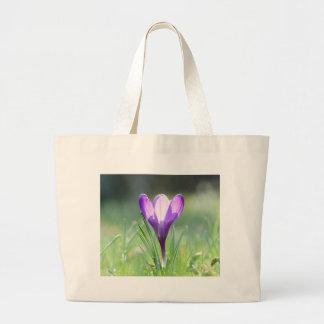 Açafrão roxo no primavera bolsa tote grande