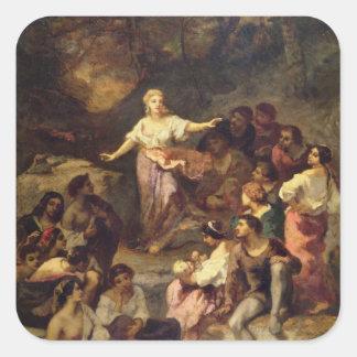 Acampamento aciganado, 1848 adesivo quadrado