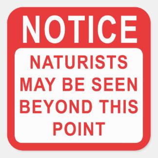 Acampamento do naturista/sinal da praia adesivo quadrado