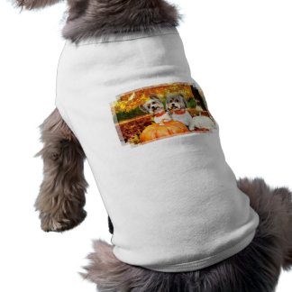Acção de graças da queda - máxima & Leo - Yorkies Camisa Sem Mangas Para Cachorro