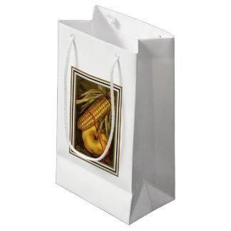 Acção de graças do milho e da abóbora do vintage sacola para presentes pequena
