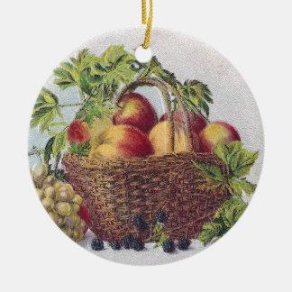 Acção de graças do vintage dos pêssegos e das uvas ornamento de cerâmica redondo