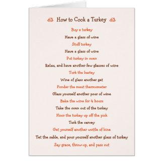 Acção de graças engraçada como cozinhar o cartão