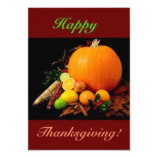 Acção de graças feliz com abóbora e fruta II Convite