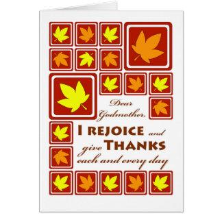 Acção de graças para a madrinha, folhas de outono cartão