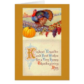 Acção de graças Turquia do vintage e cartão da