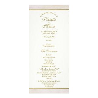 Acento da pedra e do ouro do programa do casamento 10.16 x 22.86cm panfleto