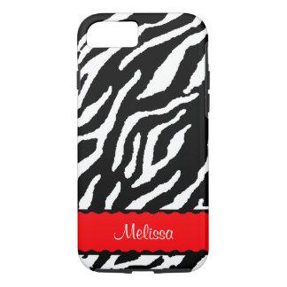 Acento vermelho com o tigre branco e preto capa iPhone 8/ 7