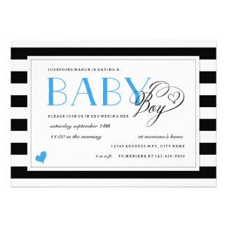 Acentos pretos brancos do azul do chá do bebé da convite personalizados